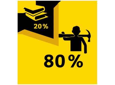 Tortendiagramm - 20% besteht aus Schule, 80% aus Arbeit