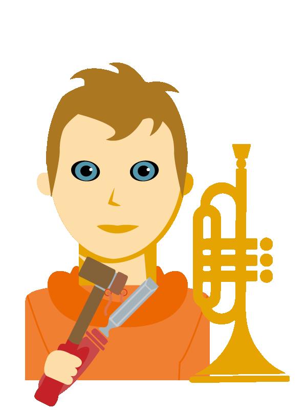 Emoji zum Beruf Blechblasinstrumentenerzeuger/in